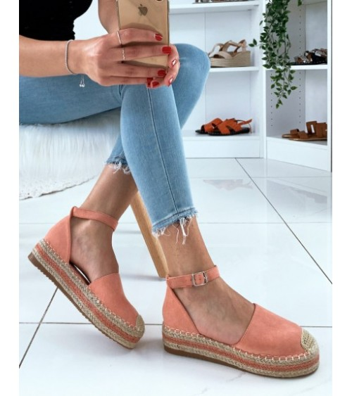 Espadrille Elea rose à plateforme et sangle