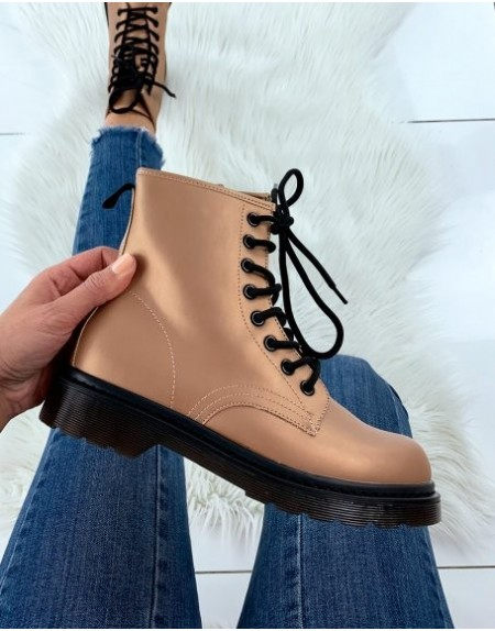 BOTTINES MONTANTE DOKS CHAMPAGNE A LACETS