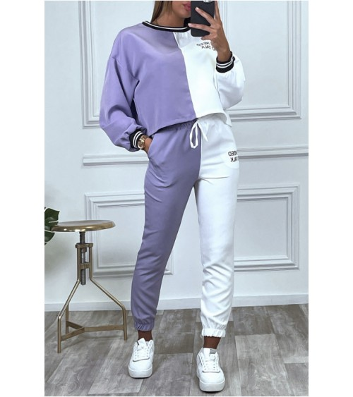 Ensemble jogging Michael bicolor violet et blanc