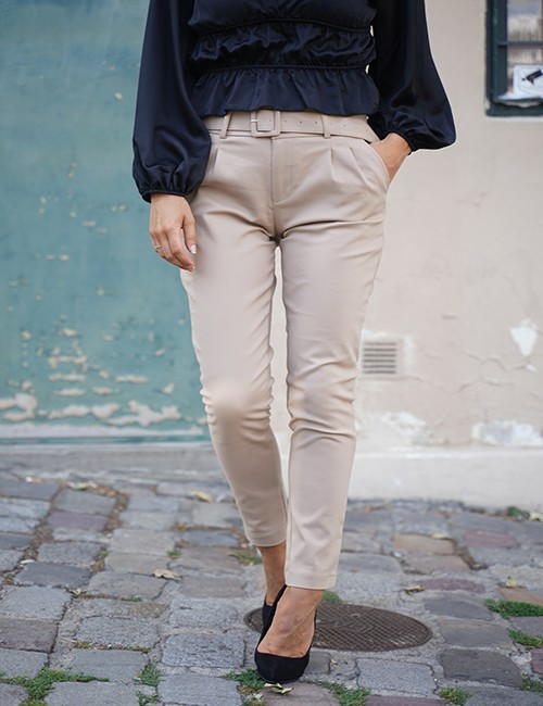Pantalon stretch Eden beige à poches