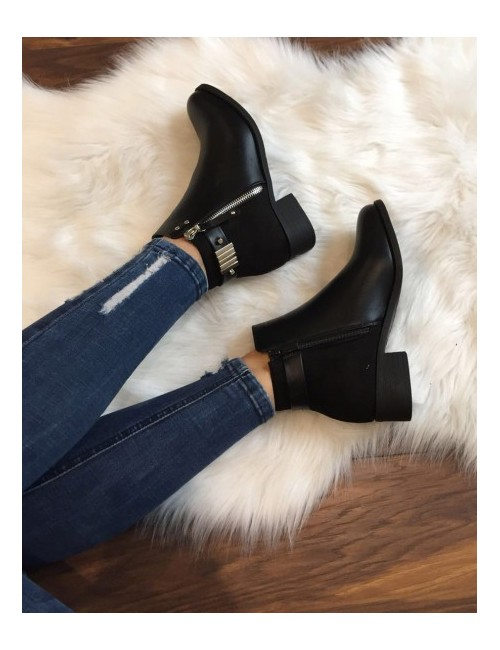 Bottines noires plates fermeture a zip
