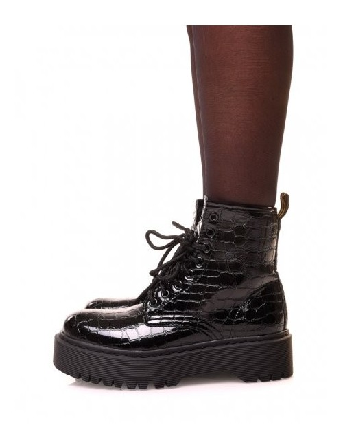 Bottines montantes noires vernies effet croco