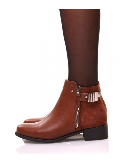 Bottines camel plates fermeture a zip