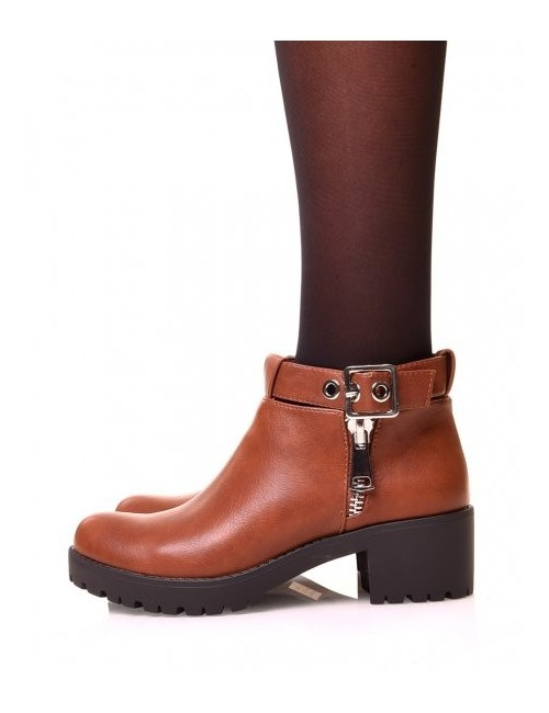 Bottines camel CELINE à talon carré