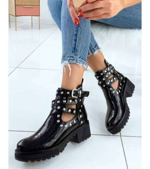 Bottines Nidal noir à motif crocodile, sangle et strass