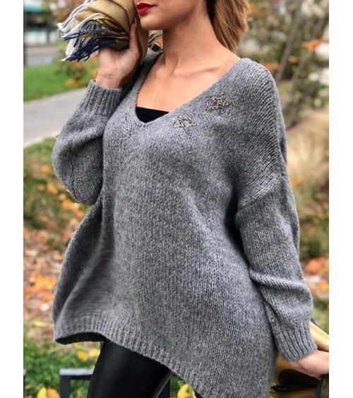Pull oversize Stacy gris à...